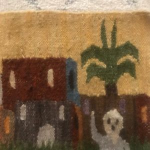 Wall Art - Mexican Woven Wool Town Scene Tan Robe Tapestry